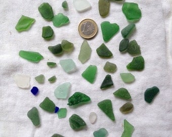 Frosted multicolored sea glass batch