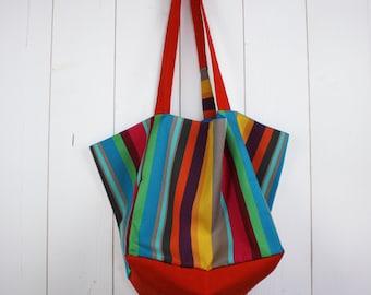 Bag in cotton canvas tote striped multicolored flashy