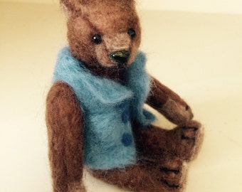Miniature needle felted bear