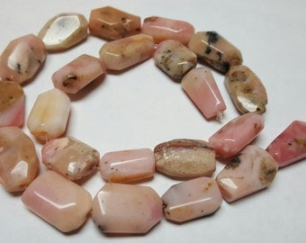 "Pink Peruvian Opal Faceted Nuggets 19x12mm 16.5"" strand"