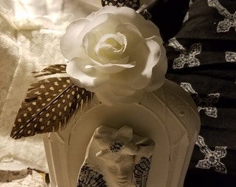 Shabby Chic Altered Bottle (Co Co's Camellia)