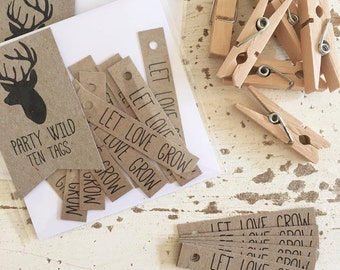 Rustic Let Love Grow Tags Pk20