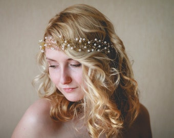 Wedding Hair Accessory,  Beaded Headband,  Bridal Headband, Wedding Halo,  Boho Bridal Crown, Bridal Wreath