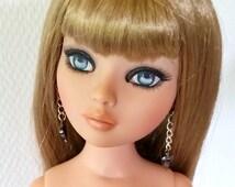 Black heart earrings, doll black earrings, Hematite heart earrings,  Doll Accessory, AM doll, doll earrings, Ellowyne jewelry,