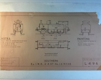 Vintage London Train Blueprint