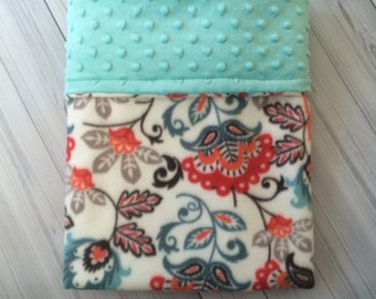 Floral Minky Baby Blanket - Turquoise Blanket - Gender Neutral
