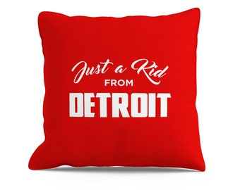 Just a Kid From Detroit Pillow, 18x18 Pillow, Detroit Pillow, Detroit Red Wings, Detroit Tigers, Detroit Pistons, Decorative Throw