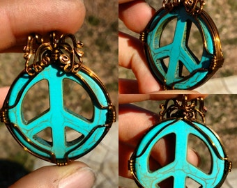 Wire wrapped Turquoise peace sign