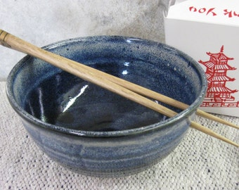 Noodle bowl, blue bowl, rice bowl, chopstick bowl, pottery, Montana made, stoneware, hand crafted