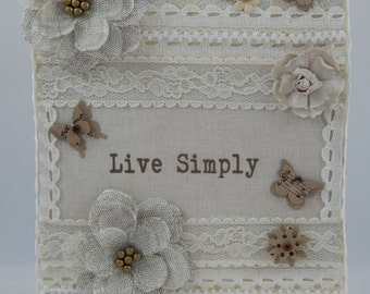 Live Simply Lace Canvas/Vintage/Shabby Chic/Neutral Colors
