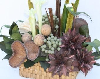Woven Basket Artificial Flower Arrangement