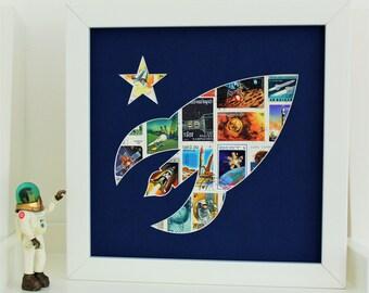 Space Themed Nursery - Rocket Ship Decor - Outer Space Bedroom Decor - Boys Wall Decor - Spaceship Decor - Playroom Art - Space Art Print