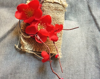 red flower hair piece/clip