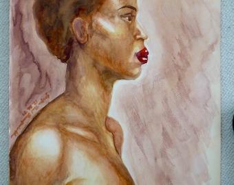Watercolor study of African-American model