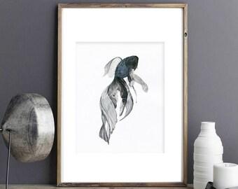 Goldfish illustration watercolor digital art prints, zen japenese modern illustration home decor wall art gift, black& white meditation 02