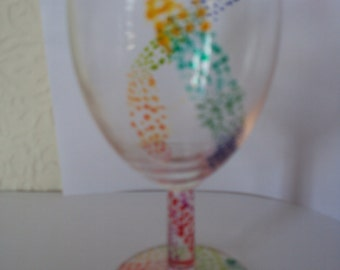 Rainbow spotted Wine Glass