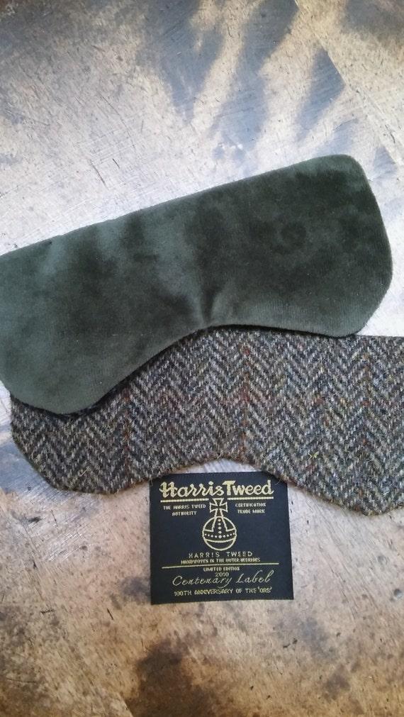 Hand crafted Luxury Harris Tweed and velvet eye mask sleep mask travel mask