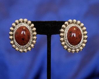 Vintage Taxco Sterling Silver Earrings, Silver Jasper Earrings