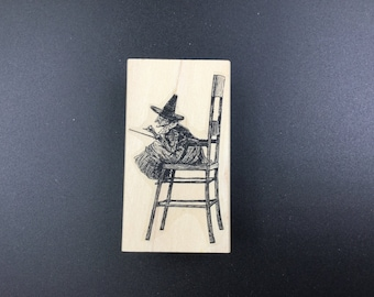 Leavenworth Jackson rubber stamp - small witch in large chair