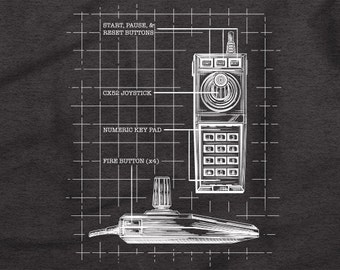Atari 5200 Controller Blueprint - Vintage Gamer Retro Look T-Shirt - Atari 5200 Video Game Console