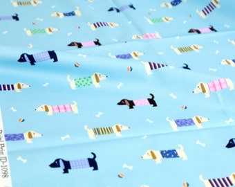 Dog, Puppy, Dachshund Patterned Fabric made in Korea by Half Yard Digital Textile Printing