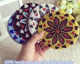 100% handmade Indian Totem glass beaded round coin purse