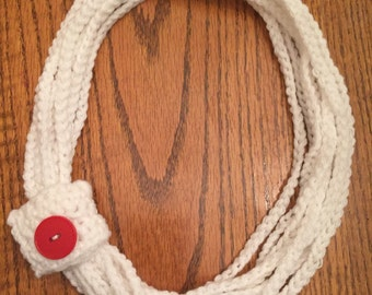 Multi strand crochet necklace with button