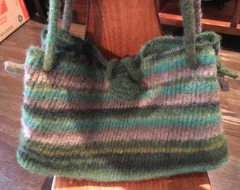 Variegated green and grey felted wool shoulder bag