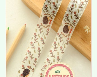 Cute Japanese Washi Tape Masking Tape HEDGEHOG - Animal sticker tape decor tape Kawaii Wide planner tape