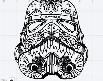 star wars storm trooper sugar skull design svg eps dxf. Black Bedroom Furniture Sets. Home Design Ideas