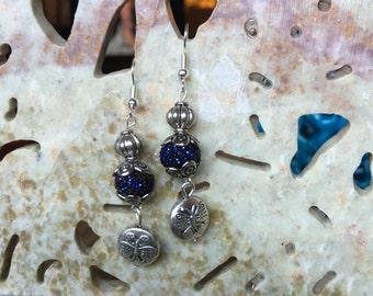 Blue glitter bead danlgle & drop earrings