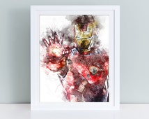 Iron Man Avengers watercolor, Ironman poster, Avenger watercolor nursery decor, Avenger Nursery art, Iron Man Avengers poster, Marvel prints