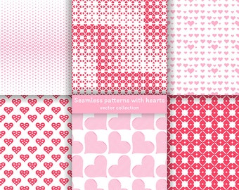 Set of seamless patterns with hearts. Digital paper. Scrapbook. Greeting card. Invitation. AI+EPS10+JPEG+PNG For commercial and personal use
