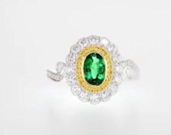 2.0 emerald ring with diamonds around CT
