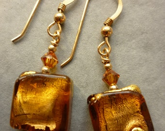 Murano glass earrings - topaz and gold squares with gold filled ear wires