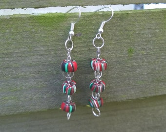 Colored earrings with silver plated metal