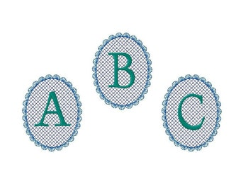Machine embroidery monogram fonts embossed font