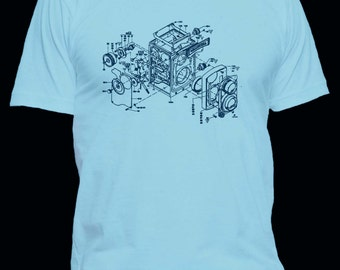 Vintage Rolleicord Camera Exploded View T-Shirt - Printed on Super Soft Ringspun Fitted T-shirts