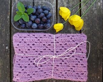 50*65 cm. Crochet Baby Alpaca/Silk blanket in purple