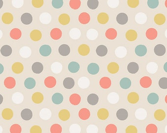 Art Gallery Fabrics, Littlest Collection, Cottontails Sand, Multi Polka Dot fabric, Fabric by the yard, LT-20035