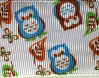Brown and Blue Owls Printed Grosgrain     (12-112-VA-220)