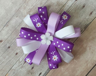 Girls 4 inch flower style loopy bow