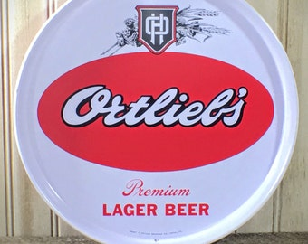 Vintage Beer Serving Tray Red and White Ortlieb's Premium Lager Advertising