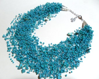Light turquoise airy necklace, multistrand statement necklace, gift for her, spring summer necklace
