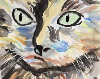 print of a watercolor cat face