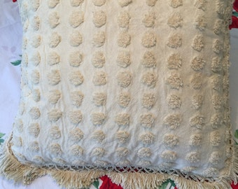 Handmade Throw Pillow made from Vintage Yellow Chenille Bedspread