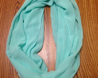 Mint Green Turquoise Sheer Homemade Infinity Scarf