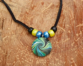 "24"" Leather Necklace With Colorful Swirled Polymer Clay Pendant & Accenting Pony Beads"