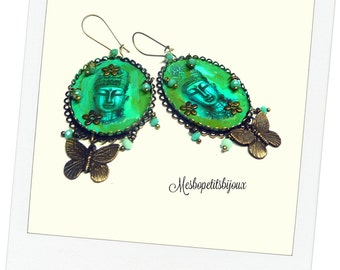pretty earrings Bohemian spirit, this gem is a unique piece, Buddha Butterfly