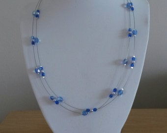Blue crystal and pearl bead wire necklace